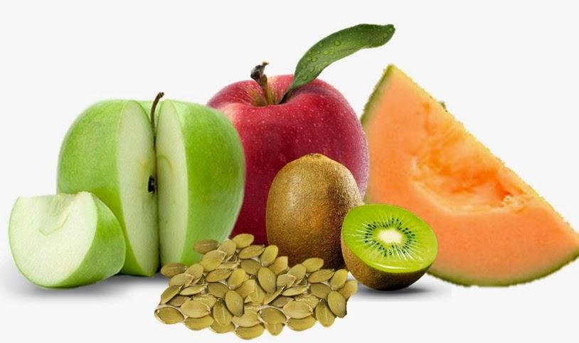 Ensalada de frutas con semillas de calabaza